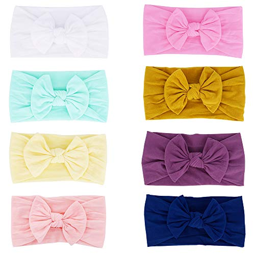 Super Stretchy Knot Nylon Baby Headbands for Newborn Baby Girls Infant Toddlers Kids (Pack of 8)
