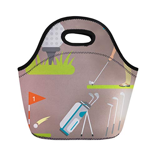 Semtomn Lunch Bags Activity of Golf Hobby Equipment Collection Cart Golfer Player Neoprene Lunch Bag Lunchbox Tote Bag Portable Picnic Bag Cooler Bag