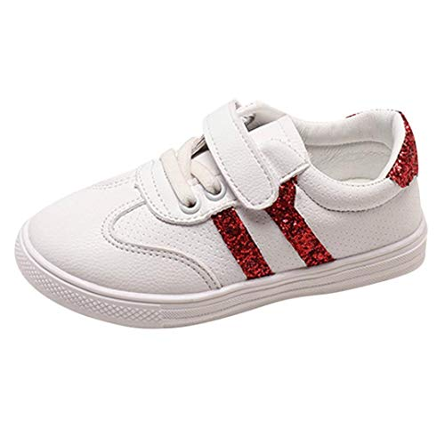 Dainzuy Infant Kids Baby Girls Boys Sequins Sports Casual White Shoes (Age:5.5-6T EU:29 US:10, Red)