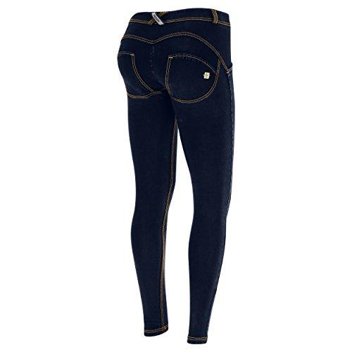 Sombre En Foncé Classique Wr couture Délavage Super Avec Denim up® Jeans Jaune Taille Large Skinny wnqCSqa4