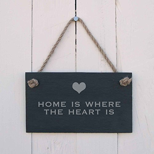 Home Is Where The Heart Is Targa in Legno da Appendere 12,7 x 25,4 cm