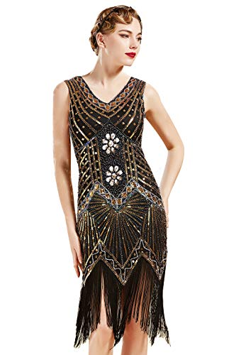 BABEYOND Women's Flapper Dresses 1920s V Neck Beaded Fringed Great Gatsby Dress (Gold, XL (Fits 31.5