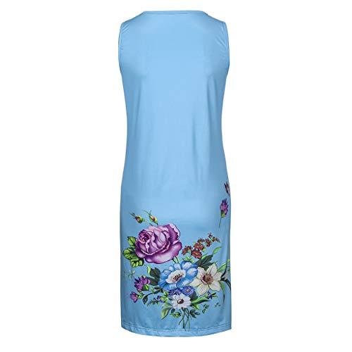 Blue De Plient Femmes O Robe cou Mode La Se daysing Impression Facile Manches Fleurs Femme Des Vintage Sans Mini Z7ZxfU