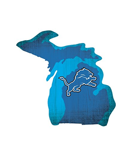 Fan Creations Detroit Lions Wood Sign 12 Inch State Shape (Lions Wood Sign)