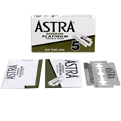 Astra Platinum Double Edge Safety Razor Blades,100 Blades (20 x 5)