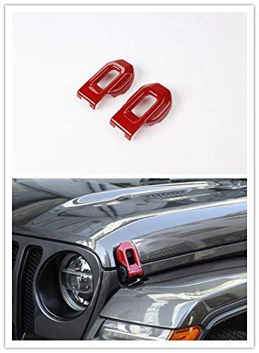 Red Highitem Carbon Fiber Red Hood Latch Lock Catch Decoration Sticker Car Styling Mouldings for Jeep Wrangler JL 2018 Up