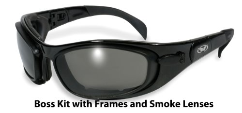 Global Vision Boss Goggles and Lens Kit (Black Frame/Clear, Smoke, Yellow Lens)