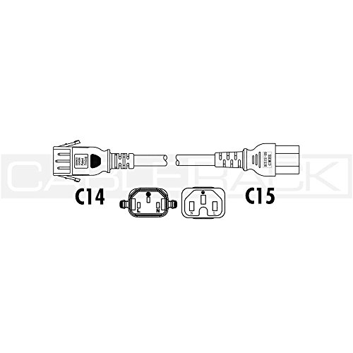 CableRack 4ft IEC60320 C14 P-Lock Locking Plug to C15 Female Connector 14/3 15AMP 250V SJT Power Cord Blue by CableRack (Image #3)