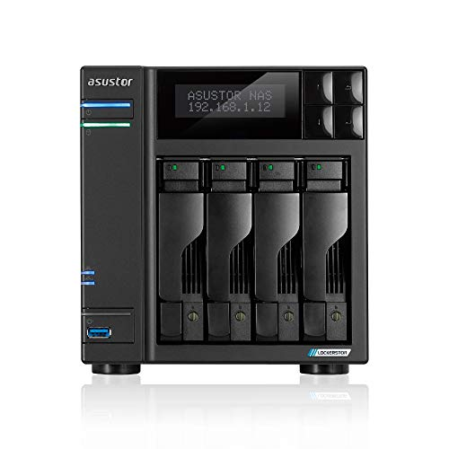 Asustor Lockerstor 4   AS6604T   Network Attached Storage   2.0GHz Quad-Core, Two 2.5GbE Port, Three 3.2USB Port, 4GB RAM DDR4, HDMI2.0a Output (4 Bay Diskless NAS)