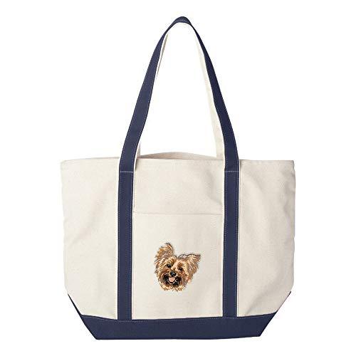 Cherrybrook Dog Breed Embroidered Canvas Tote Bags - Navy - Yorkshire Terrier ()