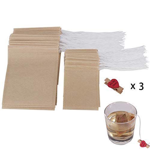 - 300 Pcs Tea Filter Bags with 3 Clips(200 Pcs 2.45 x 3.15 Inch, 100 Pcs 3.15 x 3.94 Inch), Disposable Paper Tea Bag with Drawstring, Unbleached Empty Paper Bag for Loose Leaf Tea by ZMYBCPACK