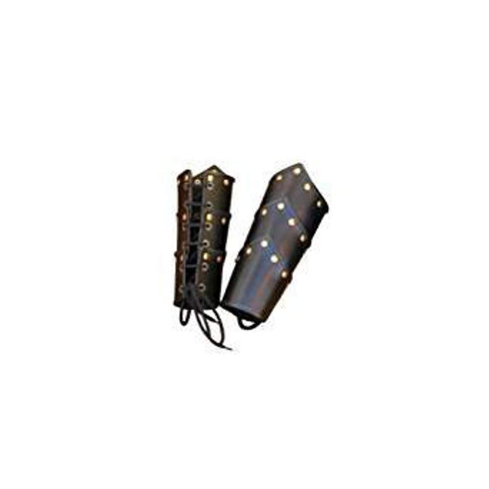Arm Guards One Size Black Leather Swordsman Vambraces Brass THORINSTRUMENTS with device