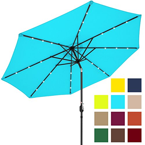 Best Choice Products 10ft Solar LED Lighted Patio Umbrella w/Tilt Adjustment - Light Blue (Fade Resistant Outdoor Furniture)