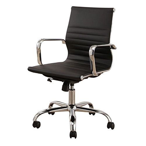 Leather Abbyson Black - Abbyson Living Ariel Silver Leather Office Chair in Black