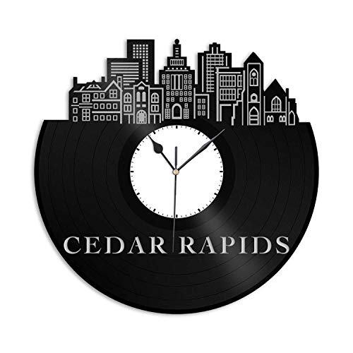 VinylShopUS - Cedar Rapids IA Vinyl Wall Clock City Skyline Cityscape Record Souvenir Unique Gift for Men Women Birthday Anniversary Office | Home Room Decoration ()