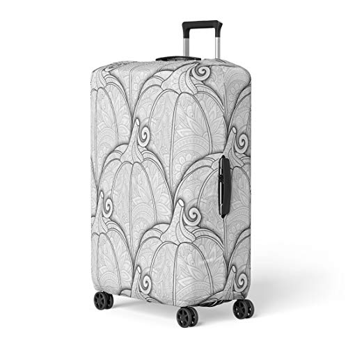 Pinbeam Luggage Cover Adult Monochrome Pumpkin Eating Plant Thanksgiving Holiday Symbol Travel Suitcase Cover Protector Baggage Case Fits 22-24 inches]()
