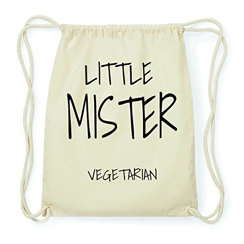JOllify VEGETARIAN Hipster Turnbeutel Tasche Rucksack aus Baumwolle - Farbe: natur Design: Little Mister