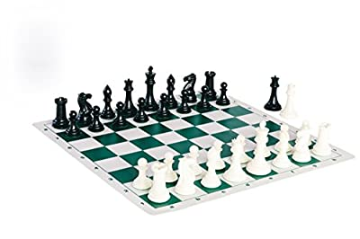 Quadruple Weight Tournament Chess Game Set - Chess Board Game with Staunton Ivory Chess Pieces, Green Silicone Chess Board