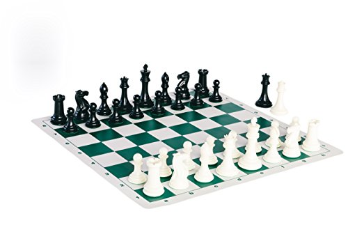 Quadruple Weight Tournament Chess Game Set - Chess Board Game with Staunton Ivory Chess Pieces, Green Silicone Chess - Board Tournament Game
