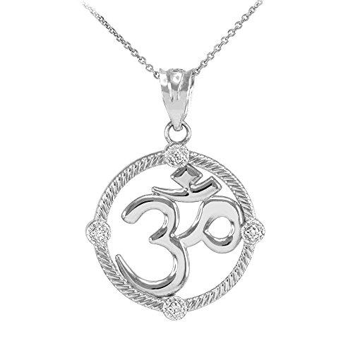 """Collier Femme Pendentif 10 Ct Or Blanc Côtelé Cercle Diamant Hindou Méditation Charme Yoga """"Om"""" (Aum) (Livré avec une 45cm Chaîne)"""