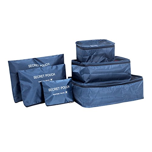 Blue Stones Set of 6 Duffle Bags Travel Kits Family Clothes Shoes Underwear Makeup Toiletry Storage Box Camping Outdoor Sport Supplies by Blue Stones