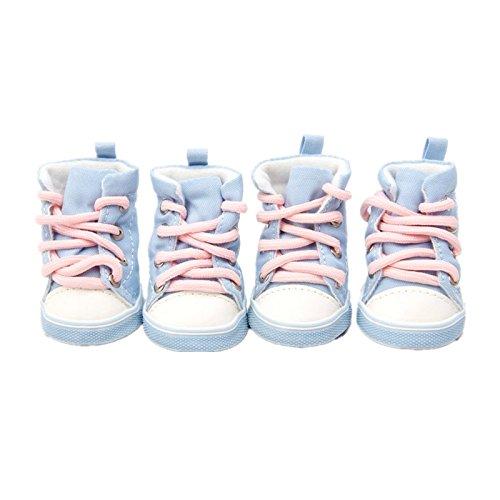 4pcs Pet Dog Denim Shoes Sport Casual Anti-Slip Sneaker Boots for Teddy Yorkie (5, Blue)