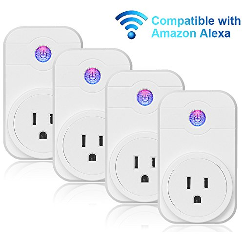 Smart Plug, Wi-Fi Enabled, No Hub Required, Compatible with Alexa Echo (4-Pack)
