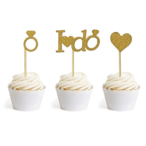 24 PCS DIY Gold Glitter I DO Ring Heart Cake Cupcake Toppers Picks For Engagement Wedding Bridal Shower Party - Bridal Cupcakes Shower