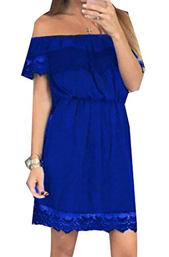 Jaycargogo L'été Au Large De La Dentelle Épaule Des Femmes Garniture Bleu Mini Robe