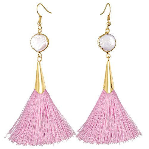 - TUMBEELLUWA Colorful Dangle Tassel Earrings Druzy Shell Healing Crystal Quartz Thread Drop Earrings Handmade Jewelry for Women,Pink(White Shell,Hook)
