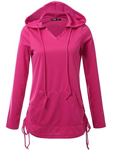 JayJay Women Lace Up Sweat Casual Long Sleeve Hoodie Lightweight Sweatshirt,Fuchsia,2XL