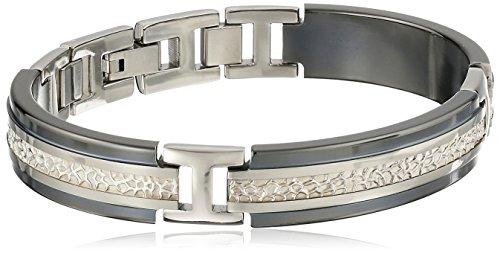 "Edward Mirell Men's Black Titanium and Hammered Sterling Silver Bracelet, 8"""