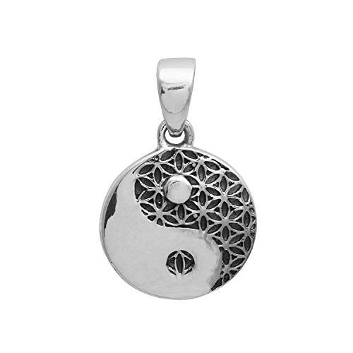 Black and White Yin and Yang Chineese Tao Symbol Unisex 925 Silver -