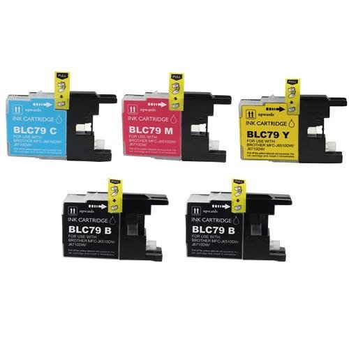 Brand NEW Compatible LC79 High Capacity Printer Ink Cartridge 5-Pack for BROTHER Printers MFC J6510DW J6710DW J6910DW LC-79 (2x Black, 1x Cyan, Magenta, (79 High Capacity Black Ink)