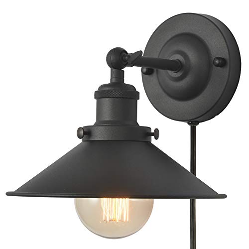 Premium Plug in Wall Sconce, UL Vintage Industrial Wall Light Fixture, XIDING Edison Wall Lamp with 94.5in Cord, Upgrade Matte Black Finish, Plug-In or Hardwire 2 in 1 Installation method,1-Light