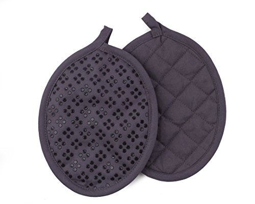 Sticky Toffee Silicone Printed Oven Mitt & Pot Holder, Cotton Terry Kitchen Dish Towel & Dishcloth, Gray, 9 Piece Set by Sticky Toffee (Image #4)