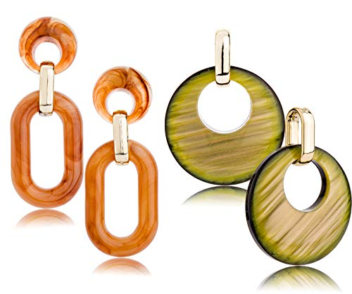 Acrylic Resin Dangle Drop Stud Earrings Set for Women Gold Plated Tortoise Hoop Statement Earrings (GL 1: Set of 2, Redish Brown & Green)
