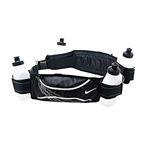Nike Lightweight Running Hydration Belt 4 Bottle (Black/White, OSFM)