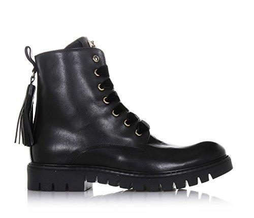 CESARE PACIOTTI - Schwarzer Stiefel aus Leder, made in Italy, auswechselbare Schnürsenkel aus Samt und Baumwolle, Mädchen, Damen