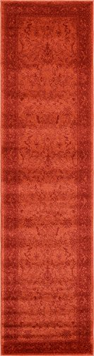 Unique Loom La Jolla Collection Tone-on-Tone Traditional Rust Red Runner Rug (2' 7 x 10' 0) - This rug is perfect for those high traffic areas in your home. It's also kid and pet friendly! This rug is waterproof, mold and mildew resistant, stain resistant, and does not shed. Cleaning Instructions: As long as it's a short-pile, indoor rug, we recommend spot cleaning with resolve, and regular vacuuming is recommended. You can use a carpet cleaner (shampooer) but it should be dried immediately and evenly. - runner-rugs, entryway-furniture-decor, entryway-laundry-room - 41pUZXTv39L -