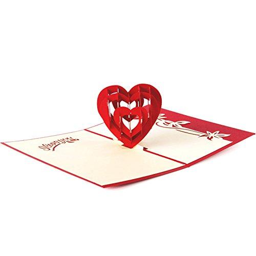 HUNGER Handmade 3D Pop Up Love Heart Birthday Cards Creative Greeting Cards (3d Card Heart)