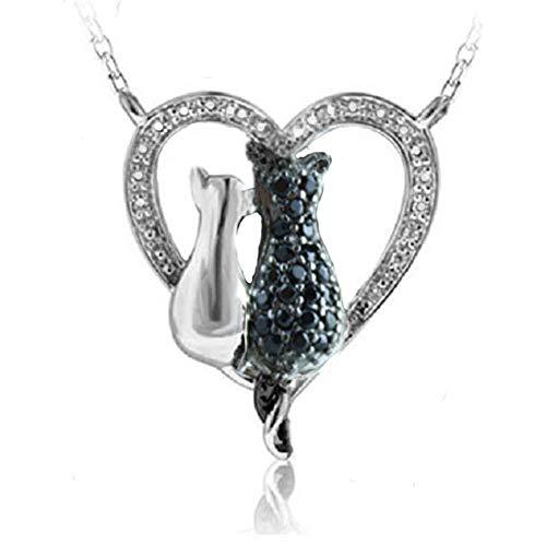 VPKJewelry Two-Cat 2 Tone Black White 925 Sterling Silver Diamonique CZ Pendant Necklace (16' Necklace Zirconia Cubic Fashion)