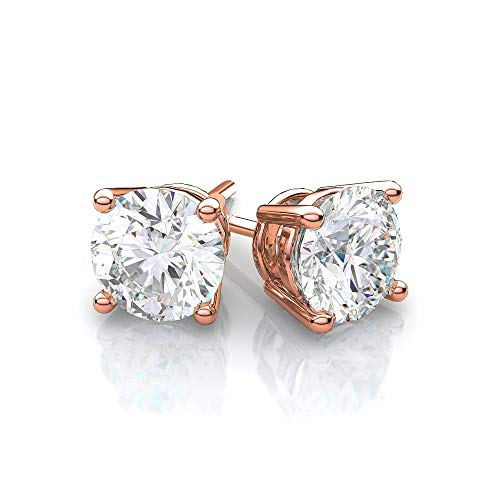 Cate & Chloe Mia Diamond-Simulated Stud Earrings, Rose Gold CZ Stud Earrings, Round CZ Studs, Crystal Earrings, Classic Studs, Best Earrings for Women (1CT Rose Gold Plated Sterling -
