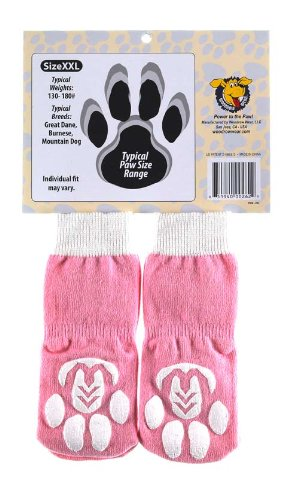 Power Paws, traction socks for dogs, XXL Pink w/ white Bone by Woodrow Wear