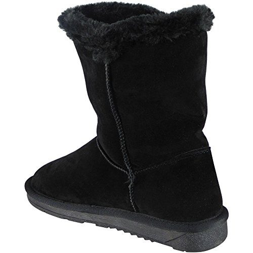 Lining Size Heel Ankle BLACK Winter Ladies Fur Low 3 Flat Womens Loud Shoes BUTTON Boots 8 Warm Look Bow gqwFCS