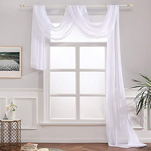 - MIULEE Luxury Window Scarf Sheer Voile Elegant Topper Long Window Valance Solid Window Treatment Swags Drapes for Window Ceremony Wedding Canopy Bed 54