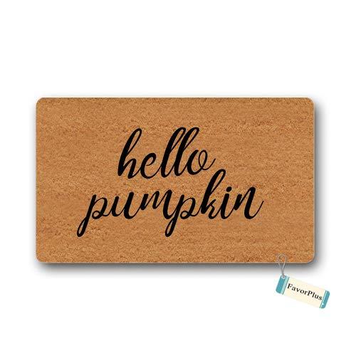 Pumpkin Door - Doormat Hello Pumpkin Entrance Outdoor/Indoor Non Slip Decor Funny Floor Door Mat Area Rug for Entrance 18x30 inch