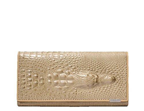 - Eastylish Women's Luxury Wax Genuine Cow Leather Crocodile Clutch Wallets Card Holder Organizer Ladies Purse Khaki