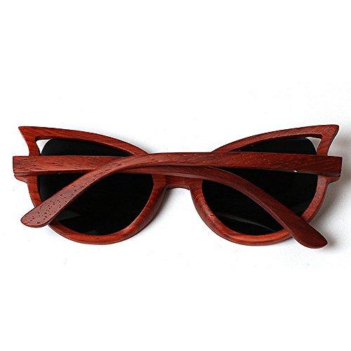 polarisées femmes soleil main lunettes Miroir Classique Femmes De cadre yeux à bois soleil Vintage conduit pour les soleil Soleil de Haute de de Lunettes classe protection lunettes UV chat lunettes Rouge la vSvHwqa