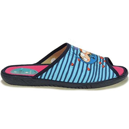 SEVILLAS - Pinki. Zapatilla Casa LLana Abierta - Modelo A14987PF Azul
